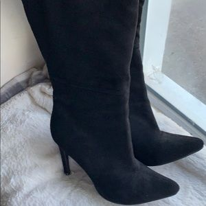 Faux suede black thigh boots sz 6.5   4 in heel